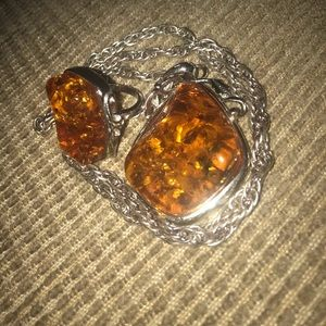 Vintage 18KGP Amber Necklace And Ring 5.5 CHUNKY!